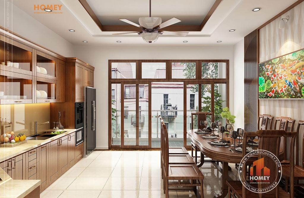 phòng bếp gỗ hương đẹp