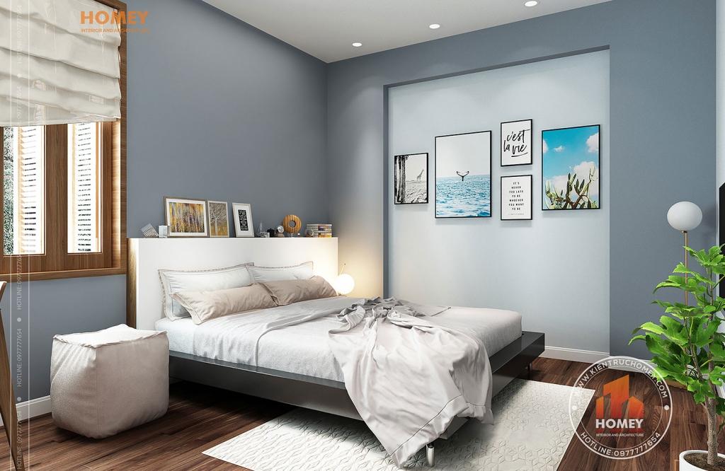 phòng ngủ con gái gỗ công nghiệp xanh mát
