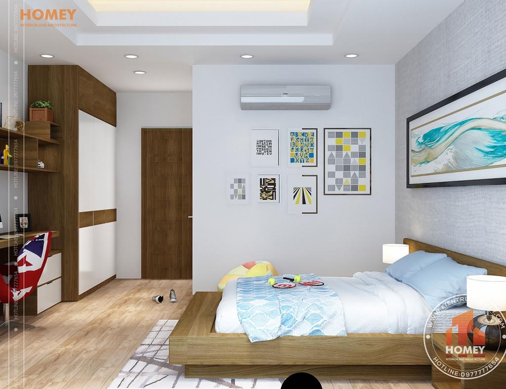 phòng ngủ con trai gỗ công nghiệp hiện đại