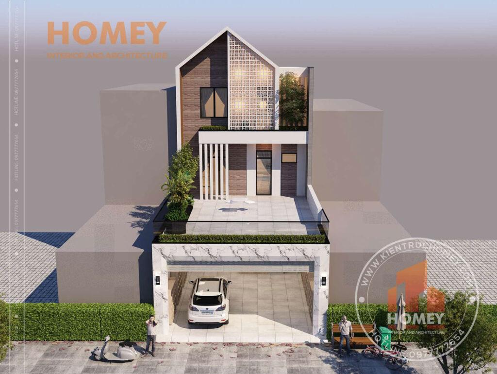 Nhà mái chéo 3 tầng gạch gió hướng tây chống nắng kiến trúc xanh
