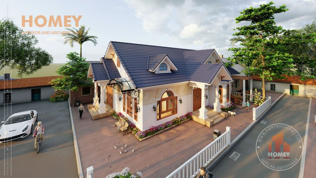 biệt thự 1 tầng mái Thái tân cổ điển tông màu nhẹ nhàng sang trọng