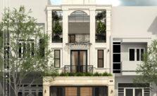 Kiến trúc lô phố tân cổ điển 8x20m Thái Nguyên mặt đứng