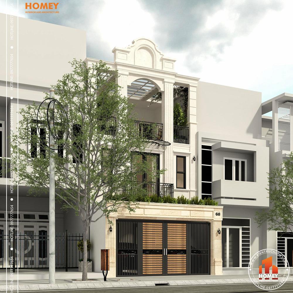 Kiến trúc lô phố tân cổ điển 8x20m Thái Nguyên phối cảnh góc