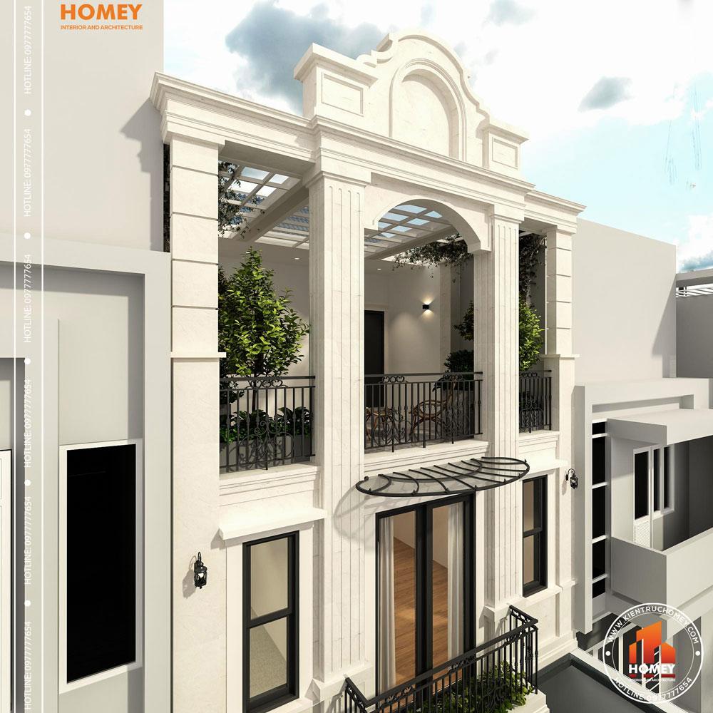 Kiến trúc lô phố tân cổ điển 8x20m Thái Nguyên tiểu cảnh