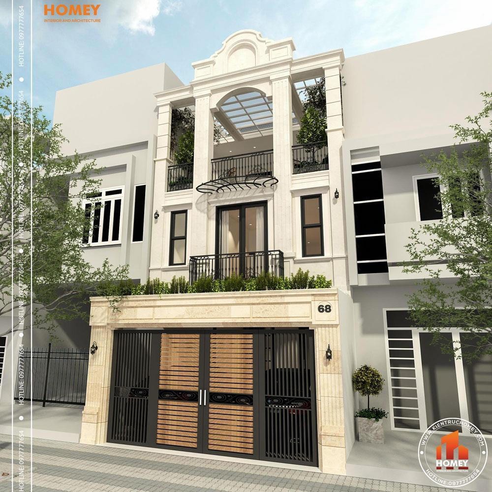 Kiến trúc lô phố tân cổ điển 8mx20m Thái Nguyên phối cảnh