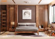Lô phố nội thất phòng ngủ master hiện đại-gỗ óc chó