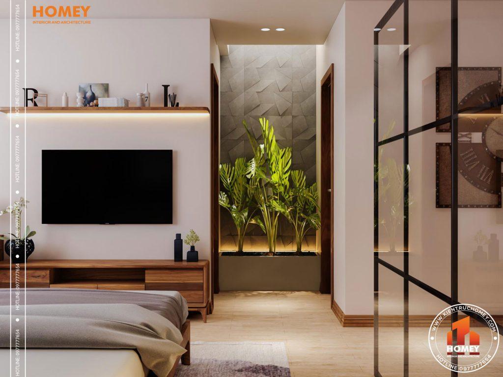 Lô phố nội thất phòng ngủ master hiện đại-kệ tivi