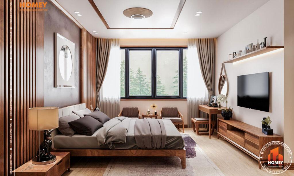 Lô phố nội thất phòng ngủ master hiện đại-mặt bên