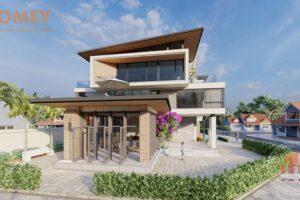biệt thự hiện đại 3 tầng mái chéo kết hợp bằng có phòng khách mở