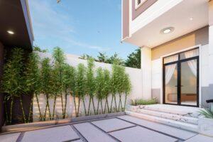 nhà phố 2 tầng mặt tiền 6,5m hiện đại cây xanh