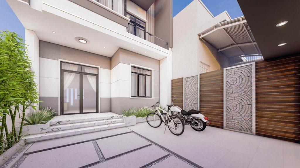 nhà phố 2 tầng mặt tiền 6,5m hiện đại chi phí 900 triệu gara oto