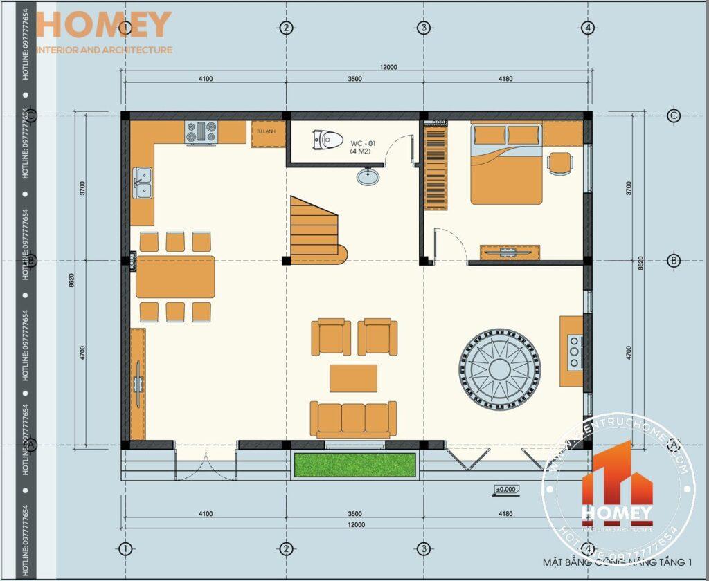 mặt bằng tầng 1 biệt thự hiện đại 3 tầng diện tích 120m2 8,6m x 12m