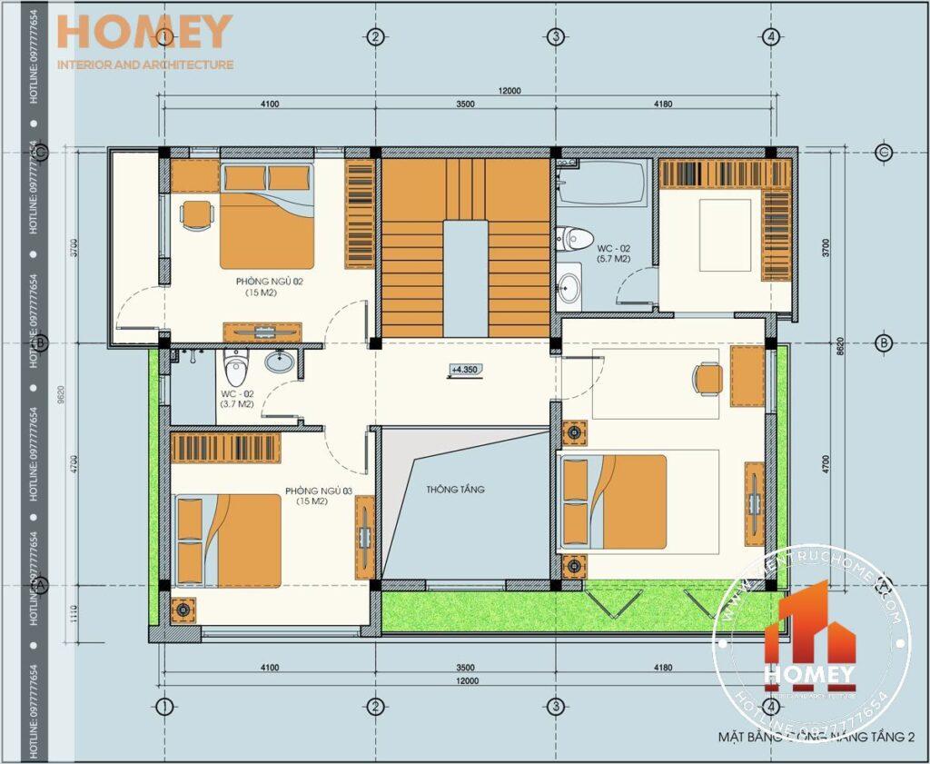 mặt bằng tầng 2 biệt thự hiện đại 3 tầng diện tích 120m2 8,6m x 12m