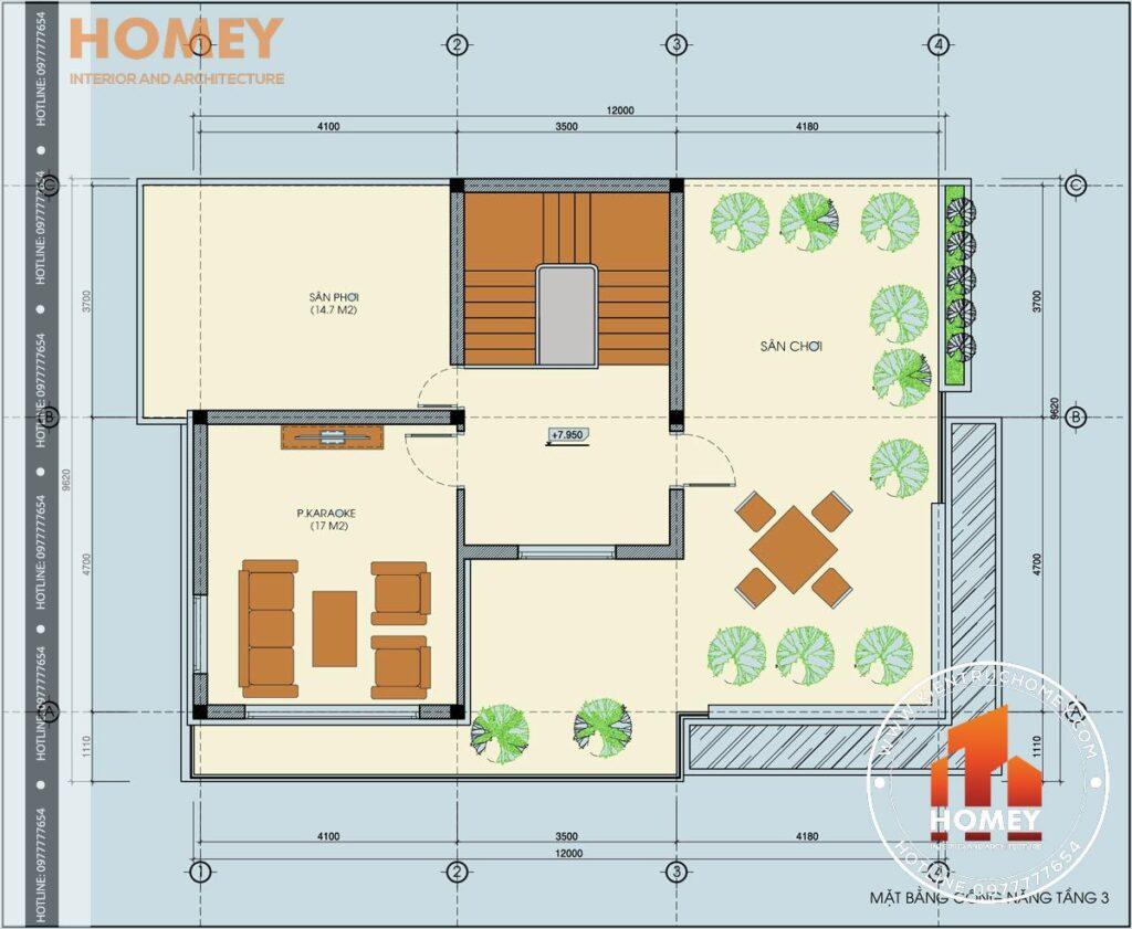 mặt bằng tầng 3 biệt thự hiện đại 3 tầng diện tích 120m2 8,6m x 12m