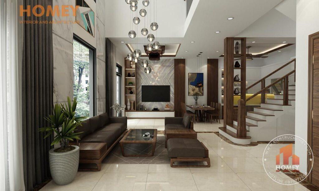 nội thất biệt thự 3 tầng phòng khách nội thất gỗ óc chó