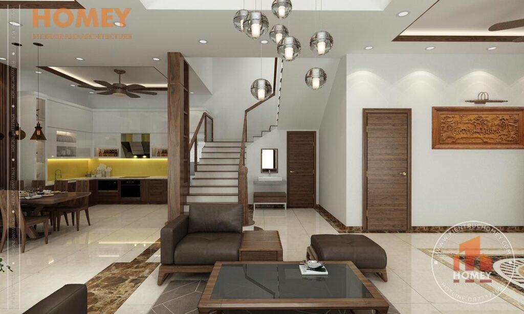 nội thất biệt thự 3 tầng phòng khách nội thất gỗ óc chó sang trọng
