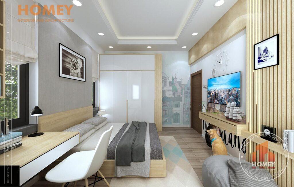 nội thất biệt thự 3 tầng phòng ngủ con tông màu vàng sáng
