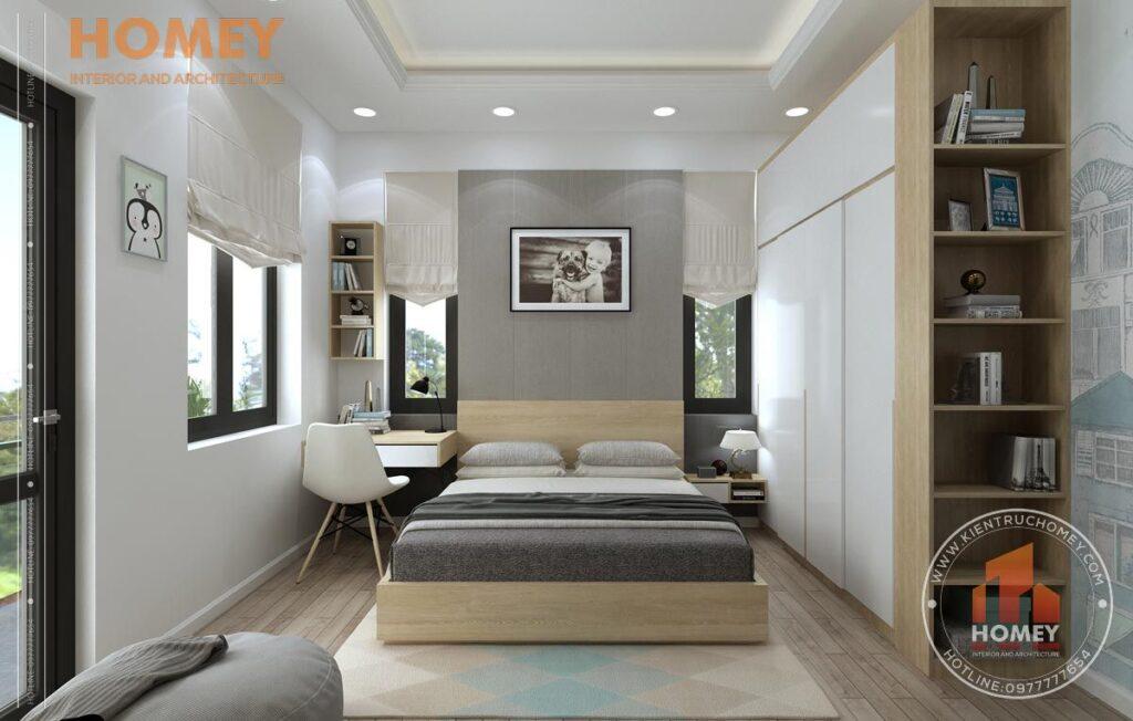 nội thất biệt thự 3 tầng phòng ngủ con tông màu vàng sáng giường gỗ công nghiệp
