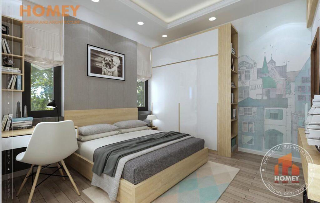 nội thất biệt thự 3 tầng phòng ngủ con tông màu vàng sáng tủ quần áo