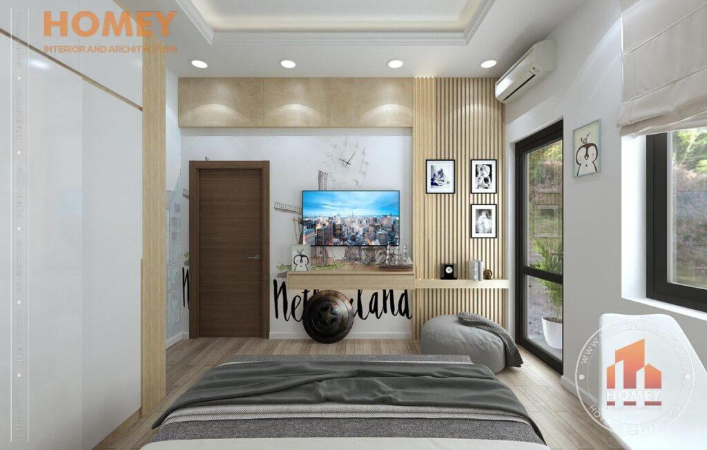 nội thất biệt thự 3 tầng phòng ngủ con tông màu vàng sáng vách tivi