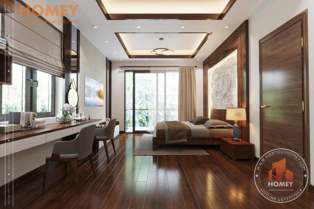 nội thất biệt thự 3 tầng phòng master gỗ óc chó đẹp