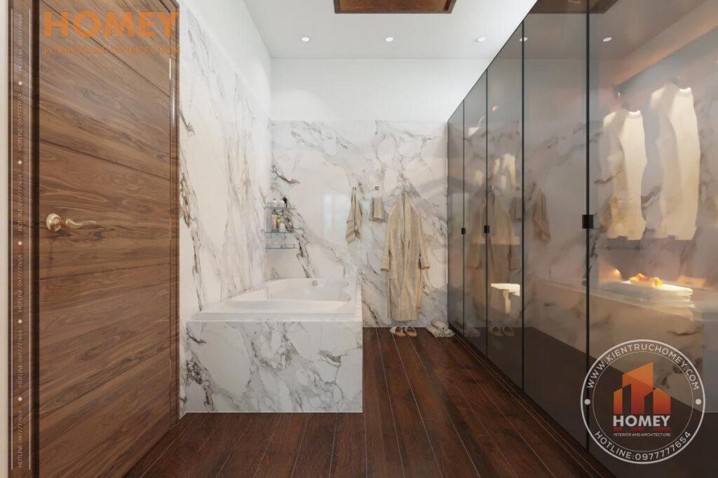 nội thất biệt thự 3 tầng phòng master gỗ óc chó phòng thay đồ cánh nhôm kính