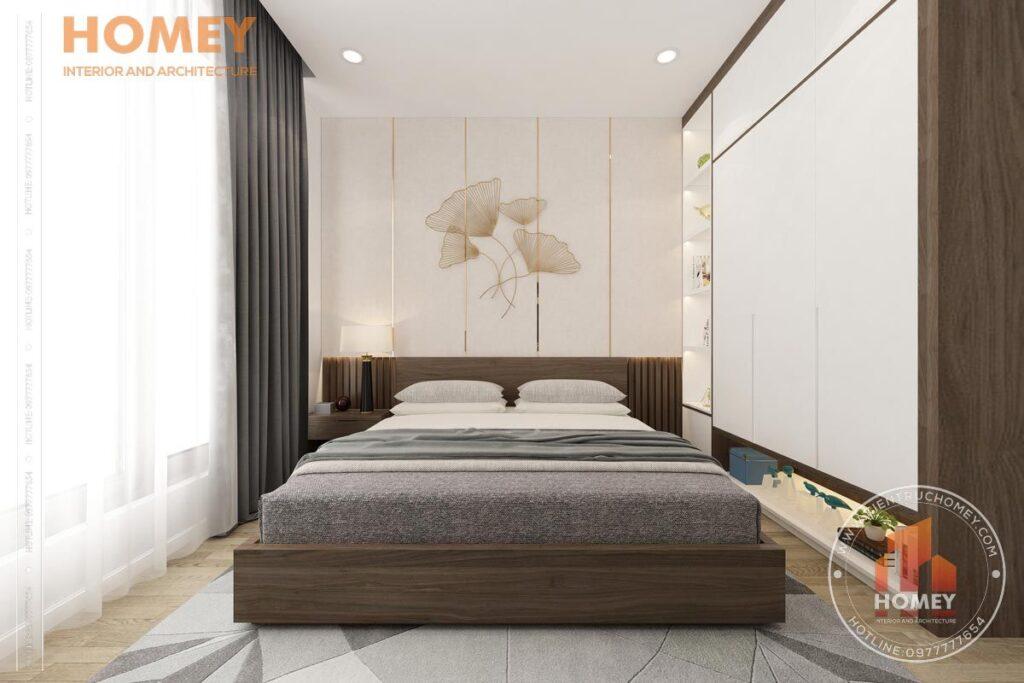 nội thất biệt thự 3 tầng phòng ngủ trẻ trung hiện đại tông màu gỗ óc chó kết hợp trắng