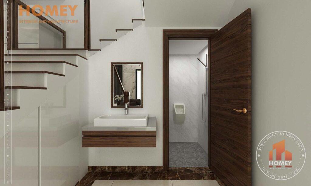 nội thất biệt thự 3 tầng phòng vệ sinh dưới gầm cầu thang