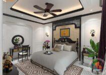 nội thất biệt thự phòng ngủ phong cách đông dương indochine sang trọng