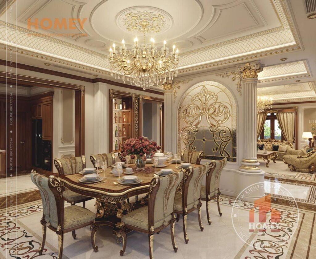 nội thất biệt thự phòng ăn sang trọng dát vàng