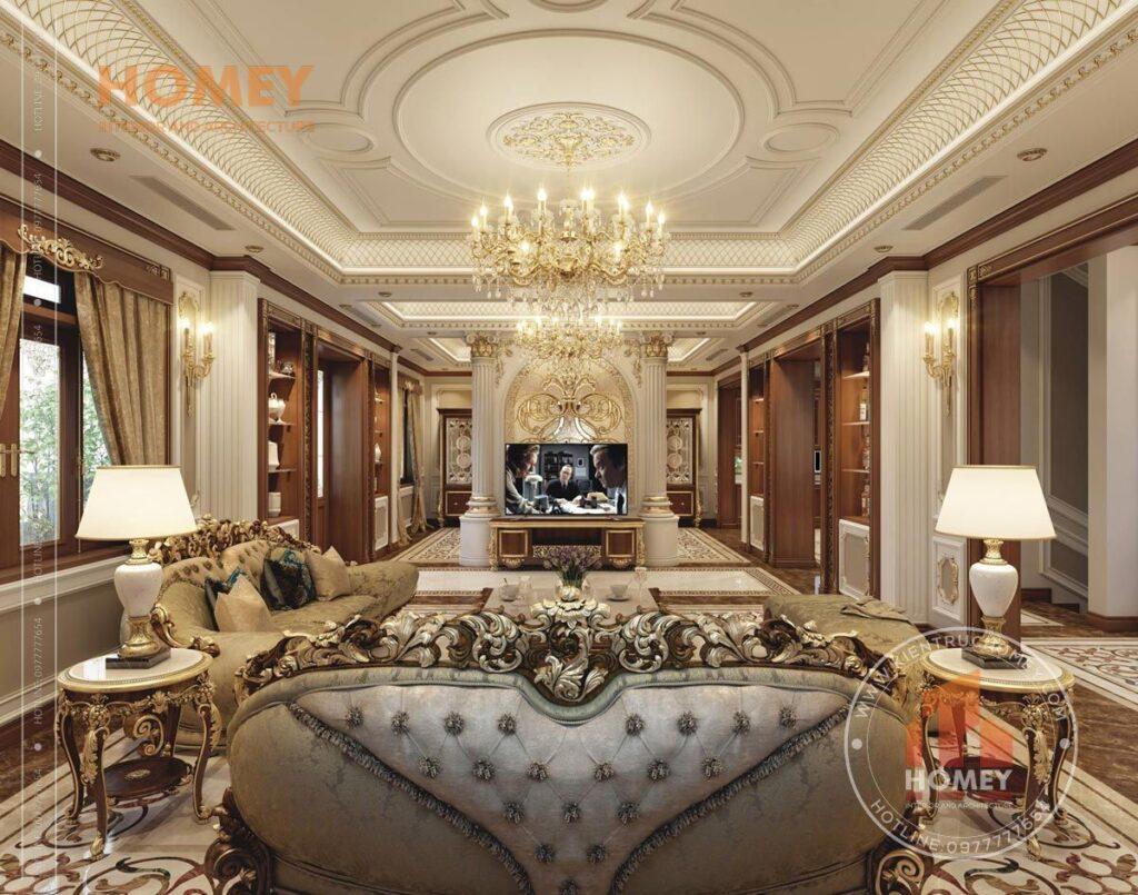 nội thất biệt thự phòng khách sang trọng dát vàng
