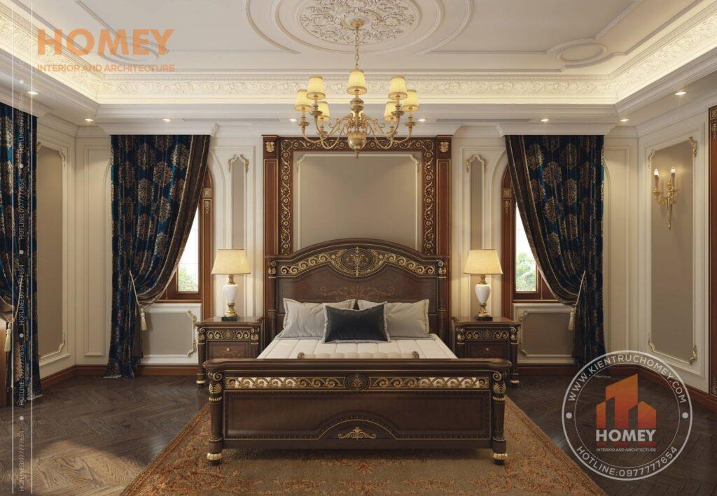 nội thất biệt thự phòng ngủ sang trọng dát vàng