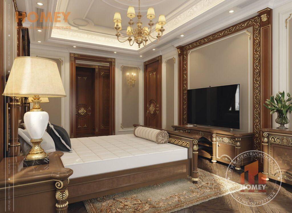 nội thất biệt thự phòng ngủ sang trọng dát vàng kệ tivi