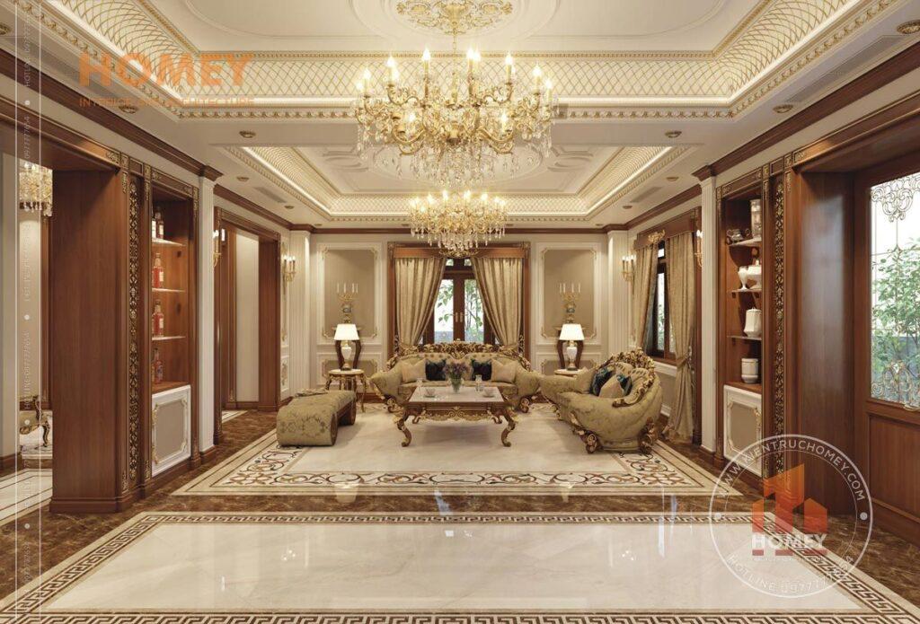 nội thất biệt thự phòng khách sang trọng dát vàng đẳng cấp