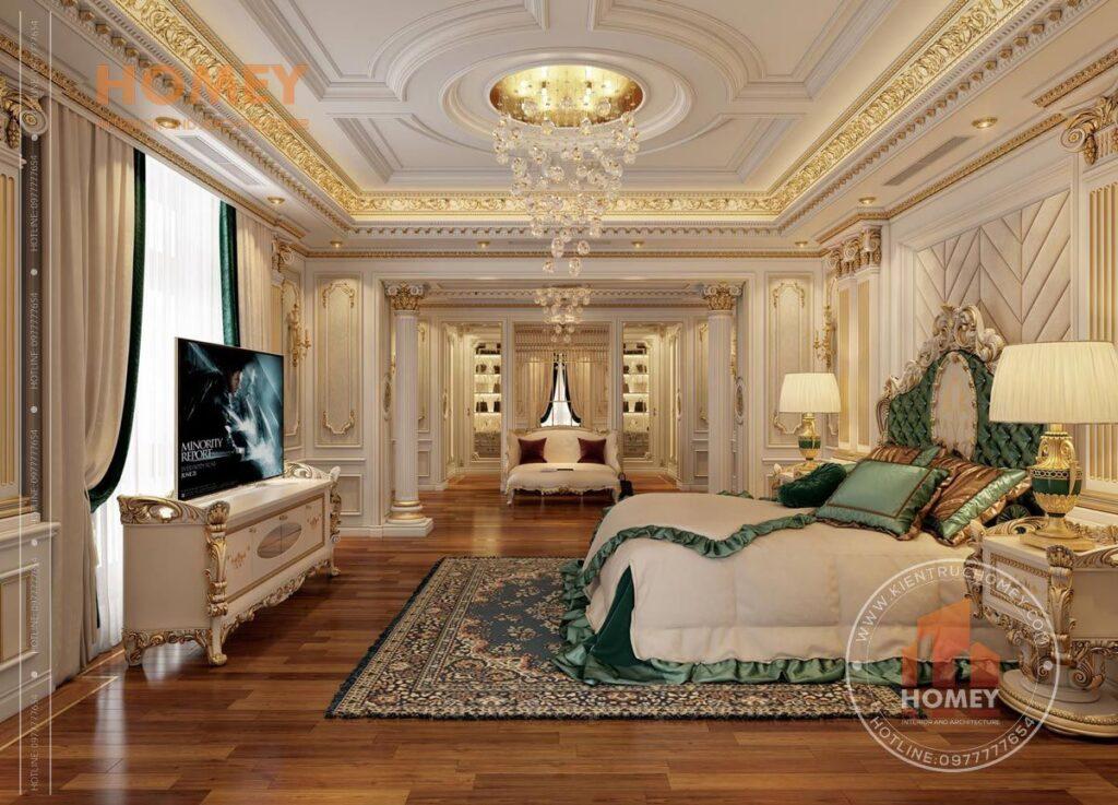 nội thất biệt thự phòng ngủ con gái sang trọng dát vàng