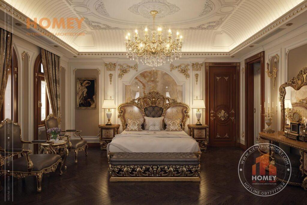 nội thất biệt thự phòng ngủ master sang trọng dát vàng