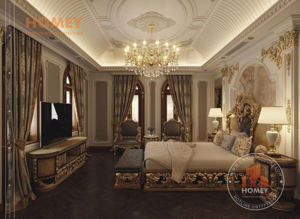 nội thất biệt thự phòng ngủ master sang trọng dát vàng lộng lẫy