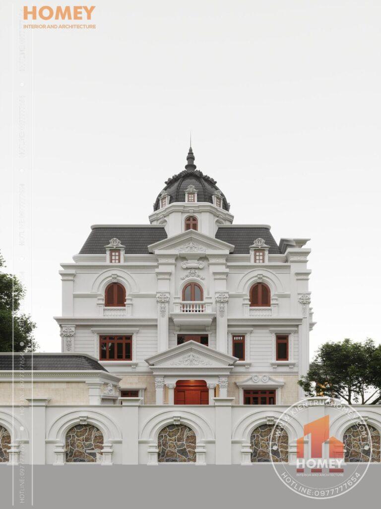 dinh thự 5 tầng đẹp sơn trắng