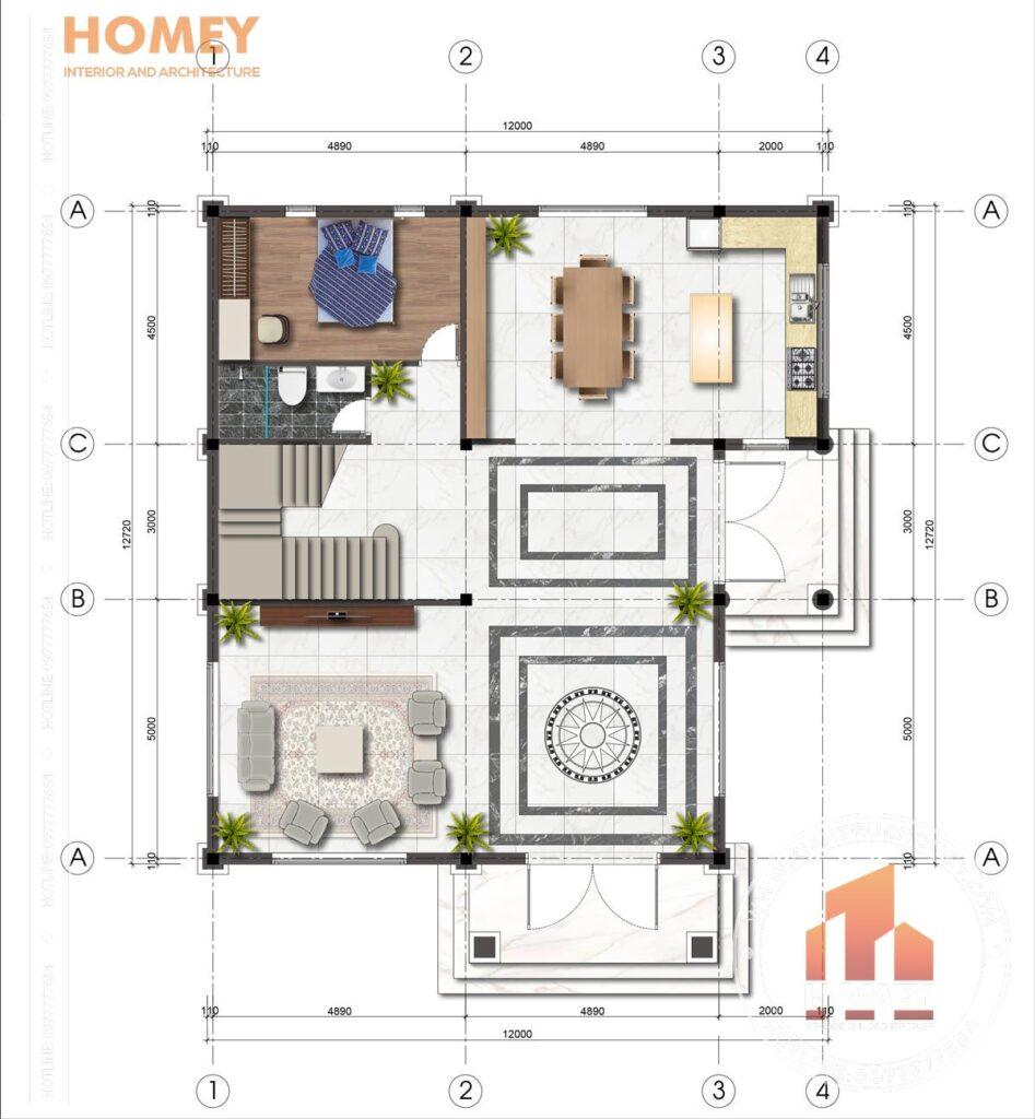 mặt bằng tầng 1 biệt thự hiện đại diện tích 150m2 mặt tiền 12m x 13m