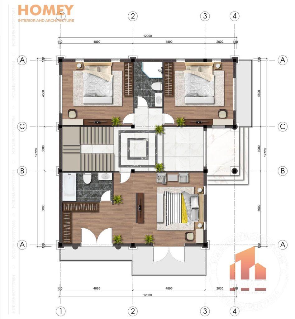 mặt bằng tầng 2 biệt thự hiện đại diện tích 150m2 mặt tiền 12m x 13m
