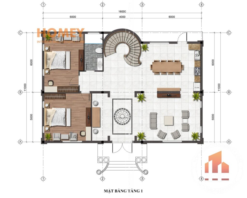 biệt thự tân cổ điển 2 tầng 11x16m