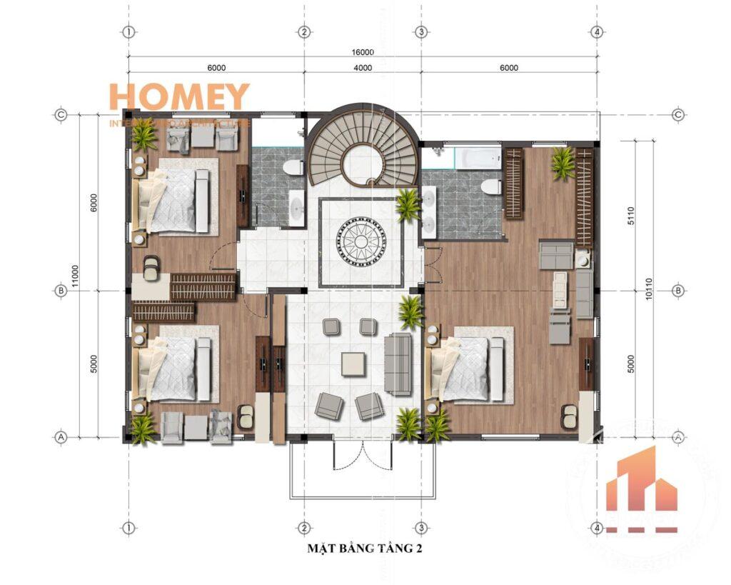 biệt thự tân cổ điển 2 tầng 11x16m tầng 2