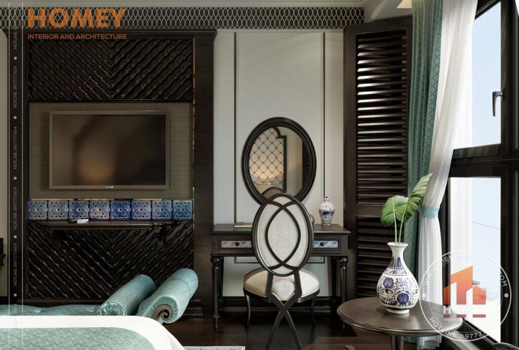 Phòng ngủ phong cách đông dương indochine bàn trang điểm