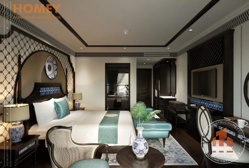 Phòng ngủ phong cách đông dương indochine màu gỗ đen