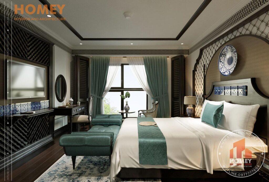 Phòng ngủ phong cách đông dương indochine sang trọng