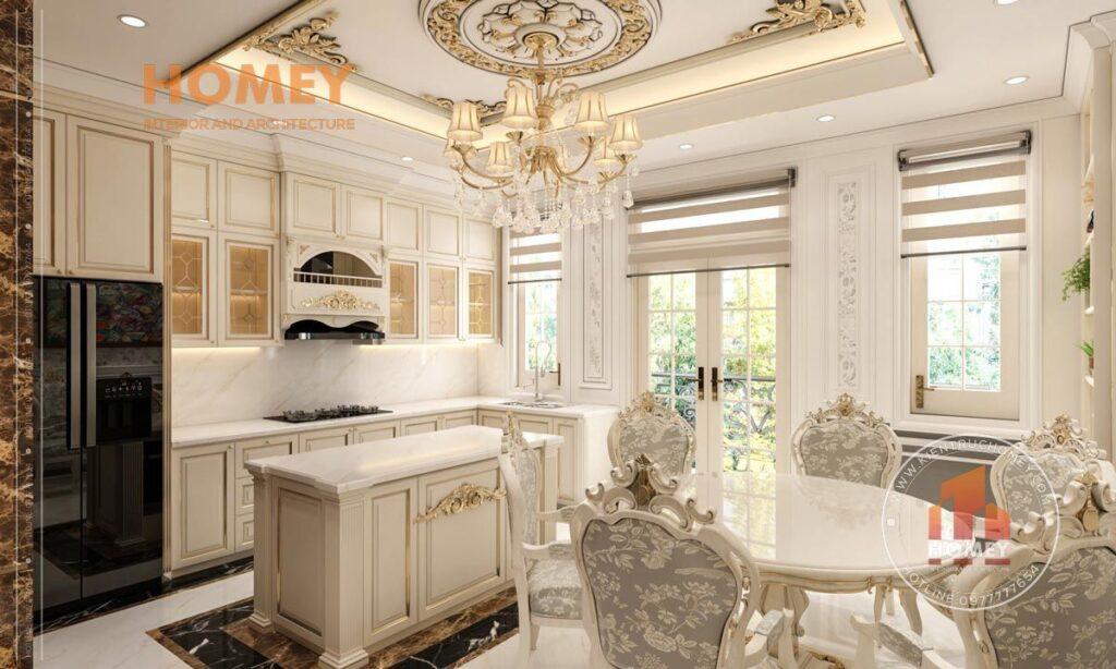 nội thất phòng bếp ăn tân cổ điển sang trọng