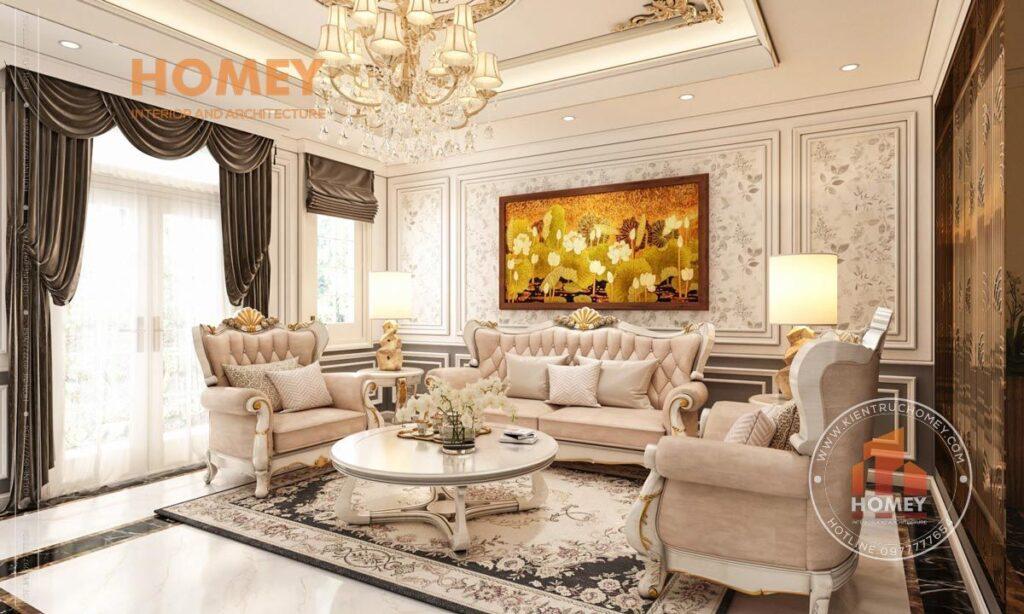 nội thất phòng khách tân cổ điển sang trọng tông màu trắng kem