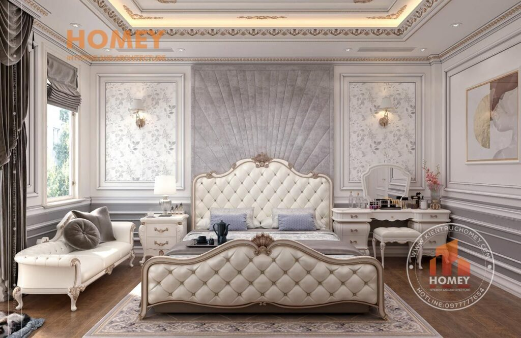 nội thất phòng ngủ tân cổ điển sang trọng dát vàng