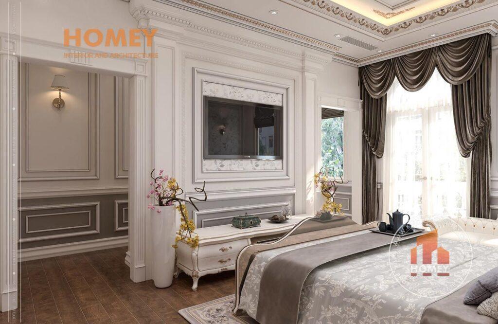 nội thất phòng ngủ tân cổ điển sang trọng kệ tivi